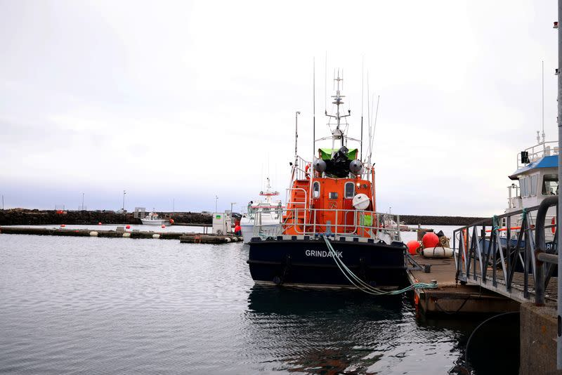 Boats on standby in the port of Grindavik