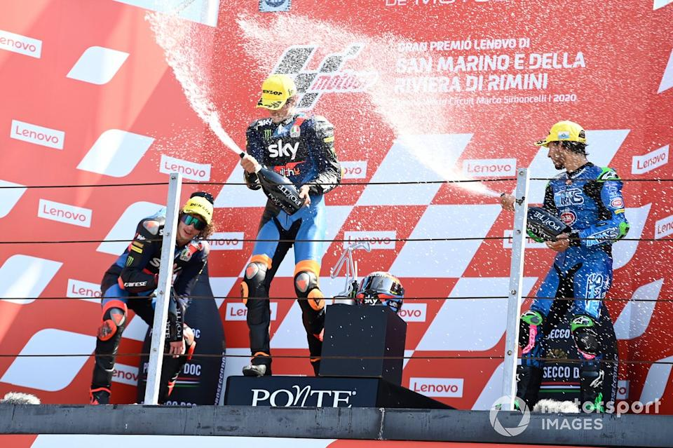 """Marco Bezzecchi, Sky Racing Team VR46, Luca Marini, Sky Racing Team VR46, Enea Bastianini, Italtrans Racing Team<span class=""""copyright"""">Gold and Goose / Motorsport Images</span>"""