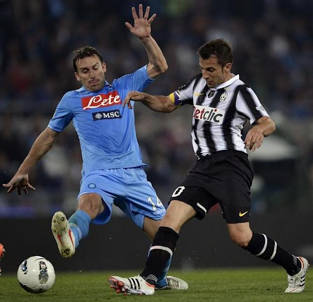 Juventus forward Alessandro Del Piero (R) vies with Napoli's Argentine defender Hugo Armando Campagnaro during the final of the Cup of Italy Juventus vs Napoli at the Olympic Stadium in Rome on May 20, 2012. AFP PHOTO / FILIPPO MONTEFORTEFILIPPO MONTEFORTE/AFP/GettyImages