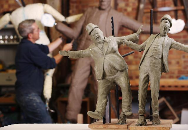 Production is underway by sculptor David Field on life-size dynamic statues of comedy icons Laurel and Hardy.