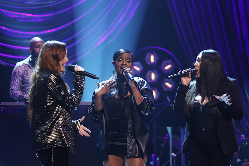 (left to right) DJ Spoony with Siobhan Donaghy, Keisha Buchanan and Mutya Buena of the Sugarbabes, performing during the filming for the Graham Norton Show at BBC Studioworks 6 Television Centre, Wood Lane, London, to be aired on BBC One on Friday evening. (Photo by Isabel Infantes/PA Images via Getty Images)