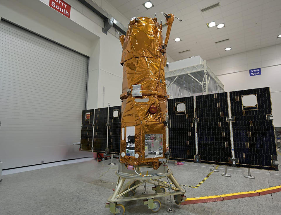 The Ofek 16 sits on display at an Israel Aerospace Industries facility in central Israel shortly before launch Monday, July 6, 2020. The new spy satellite was launched into space from central Israel early Monday, giving Israel an additional tool to keep tabs on its enemies. (Israel Ministry of Defense Spokesperson's Office via AP)