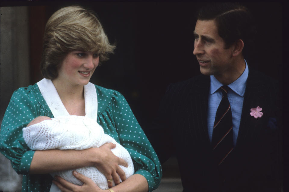Princess Diana with Prince William outside the Lindo Wing in 1982 [Photo: Getty]