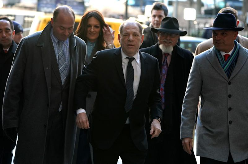 Harvey Weinstein arrives at the Manhattan Criminal Court on Jan. 22 for opening arguments in his rape and sexual assault trial in New York City.  (Photo: TIMOTHY A. CLARY via Getty Images)