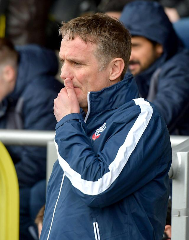 "Soccer Football - Championship - Burton Albion vs Bolton Wanderers - Pirelli Stadium, Burton, Britain - April 28, 2018 Bolton Wanderers' manager Phil Parkinson Action Images/Paul Burrows EDITORIAL USE ONLY. No use with unauthorized audio, video, data, fixture lists, club/league logos or ""live"" services. Online in-match use limited to 75 images, no video emulation. No use in betting, games or single club/league/player publications. Please contact your account representative for further details."