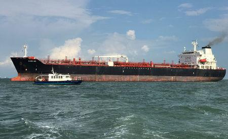 Tanker Alnic MC is seen in Singapore waters after a collision with U.S. Navy USS John S. McCain