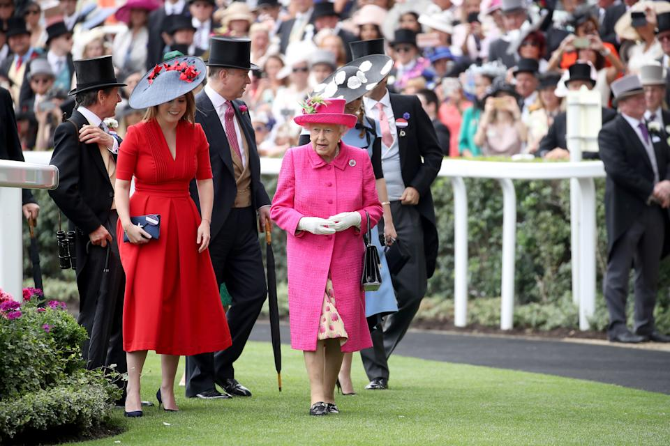 ASCOT, ENGLAND - JUNE 22:  (L-R) John Warren,  Princess Eugenie of York, Prince Andrew, Duke of York, Queen Elizabeth II and Princess Beatrice of York are seen in the Parade Ring as they attend Royal Ascot 2017 at Ascot Racecourse on June 22, 2017 in Ascot, England.  (Photo by Chris Jackson/Getty Images)