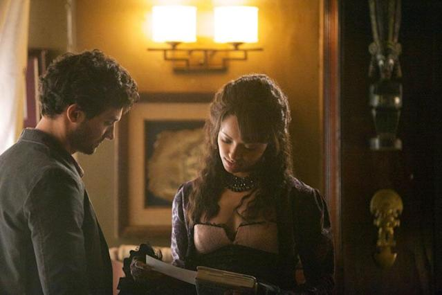 "David Alpay as Professor Shane and Kat Graham as Bonnie in ""The Five,"" the fourth episode of ""The Vampire Diaries"" Season 4."