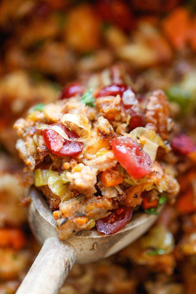 "<strong>Get the <a href=""http://damndelicious.net/2014/11/17/slow-cooker-cranberry-pecan-stuffing/"" target=""_blank"">Slow Cooker Cranberry Pecan Stuffing </a>from Damn Delicious</strong>"