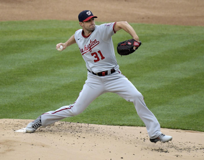 Washington Nationals starting pitcher Max Scherzer throws during the first inning of a baseball game against the New York Yankees, Saturday, May 8, 2021, at Yankee Stadium in New York. (AP Photo/Bill Kostroun)