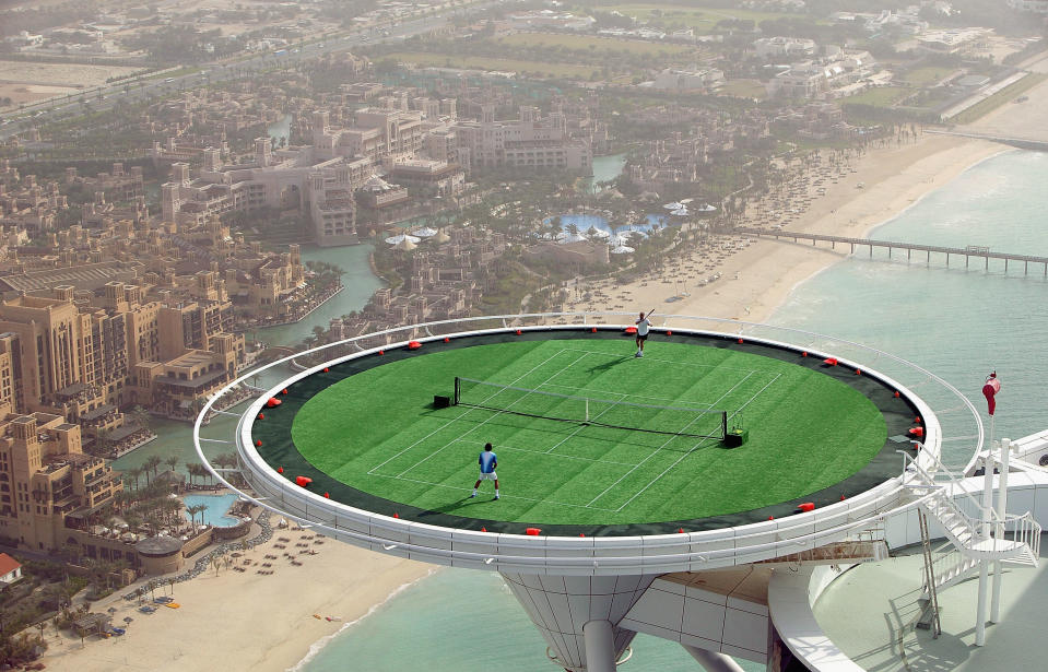 The world's highest tennis court in Dubai, posted by u/The_Collector4. (Getty)