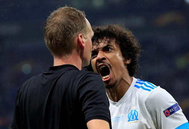 Soccer Football - Europa League Final - Olympique de Marseille vs Atletico Madrid - Groupama Stadium, Lyon, France - May 16, 2018 Marseille's Luiz Gustavo reacts after being booked REUTERS/Gonzalo Fuentes TPX IMAGES OF THE DAY