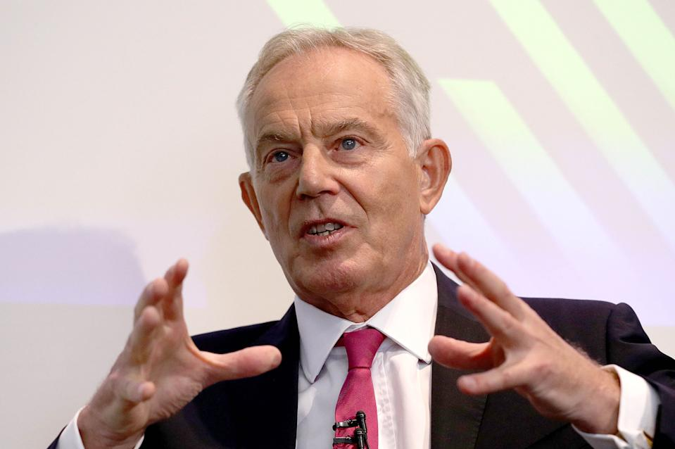 """File photo dated 02/09/19 of former prime minister Tony Blair, who has urged Labour to ensure a no-deal Brexit is ruled out completely - including if upcoming EU trade talks turn """"ugly"""" - before agreeing to an election."""