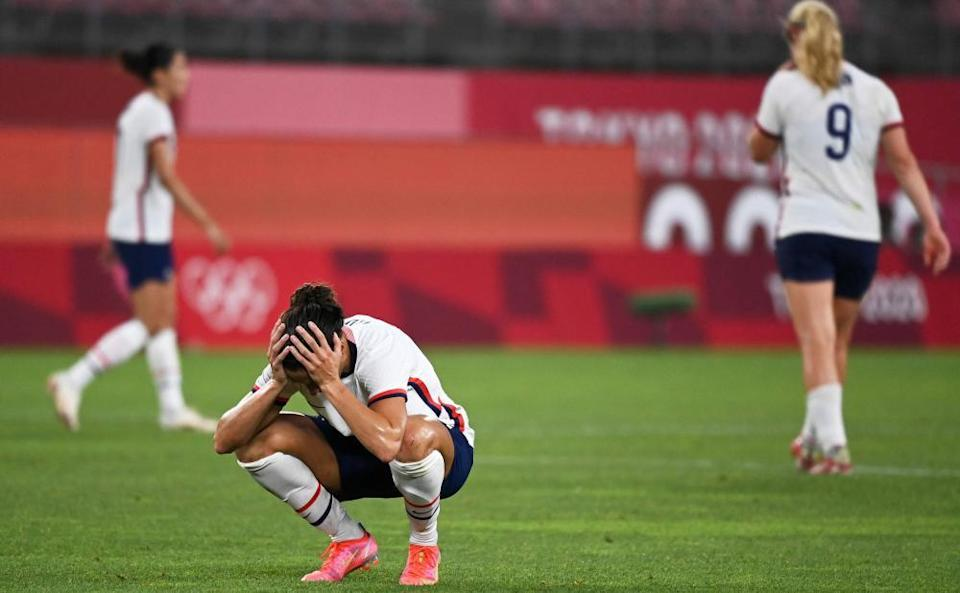 A dejected Carli Lloyd contemplates the USA's defeat