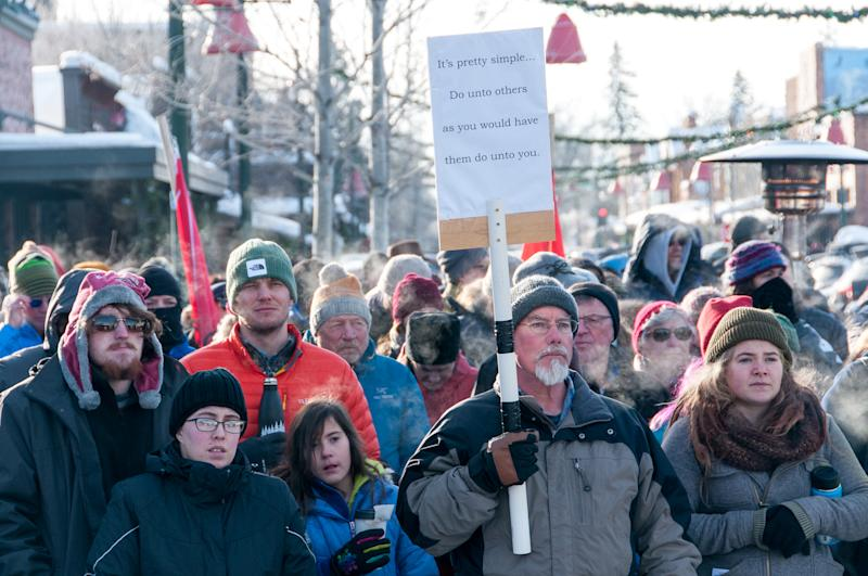 The crowd at the Love Not Hate gathering in Whitefish, MT, in sub-zero temperatures. (Photo: Lauren Grabelle)