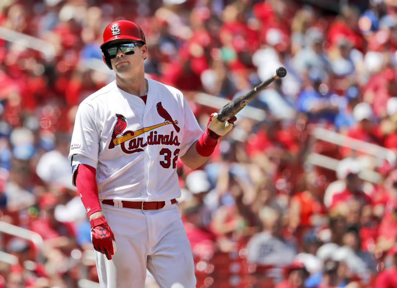St. Louis Cardinals' Matt Wieters reacts after striking out during the seventh inning in the first game of a baseball doubleheader against the Kansas City Royals Wednesday, May 22, 2019, in St. Louis. (AP Photo/Jeff Roberson)