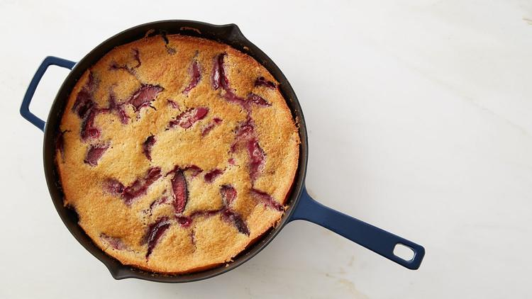 """<p>Let <a href=""""https://www.marthastewart.com/275422/plum-recipes"""" rel=""""nofollow noopener"""" target=""""_blank"""" data-ylk=""""slk:fresh plums"""" class=""""link rapid-noclick-resp"""">fresh plums</a> shine in this one-bowl, one-skillet cake recipe that couldn't be easier to prepare. The cake batter is poured into a cast-iron skillet, then topped with plums and baked until cooked through. <a href=""""https://www.marthastewart.com/1153308/marthas-plum-skillet-cake"""" rel=""""nofollow noopener"""" target=""""_blank"""" data-ylk=""""slk:View recipe"""" class=""""link rapid-noclick-resp""""> View recipe </a></p>"""