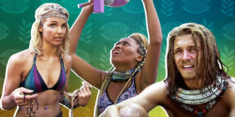 Cutouts of Survivor show contestants Andrea Boehlke, Lauren-Ashley Beck, and Malcolm Freberg against a green background featuring the show logo and leaves