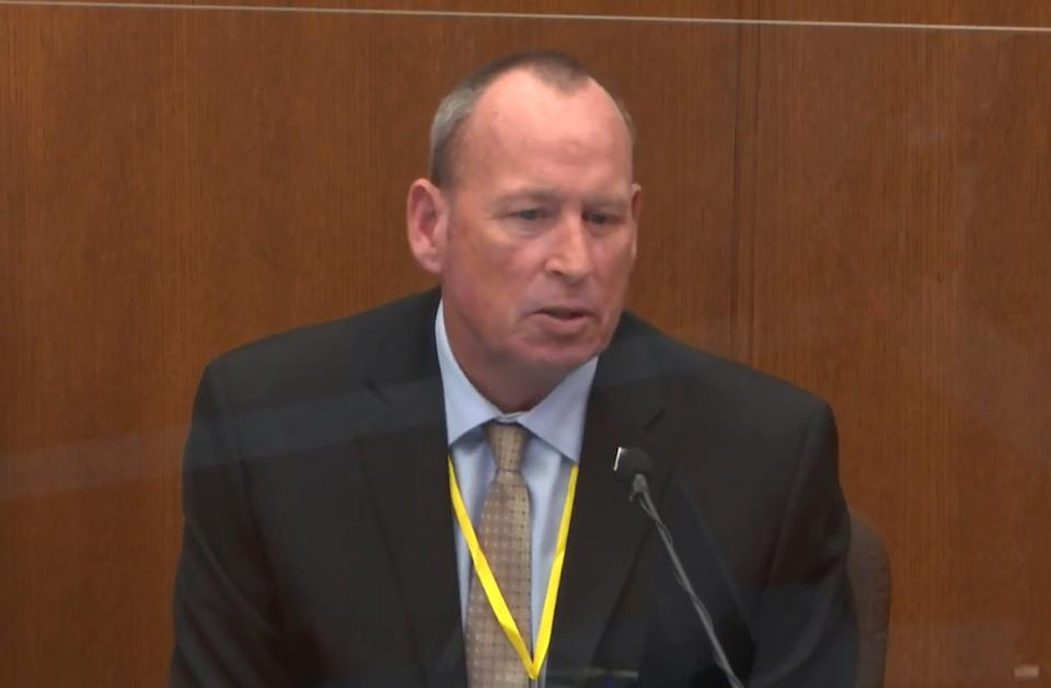 In this image from video, former Minneapolis Police Officer Scott Creighton testifies as Hennepin County Judge PeterCahill presides, Tuesday, April 13, 2021, in the trial of former Minneapolis police Officer Derek Chauvin at the Hennepin County Courthouse in Minneapolis, Minn.  Chauvin is charged in the May 25, 2020 death of George Floyd.