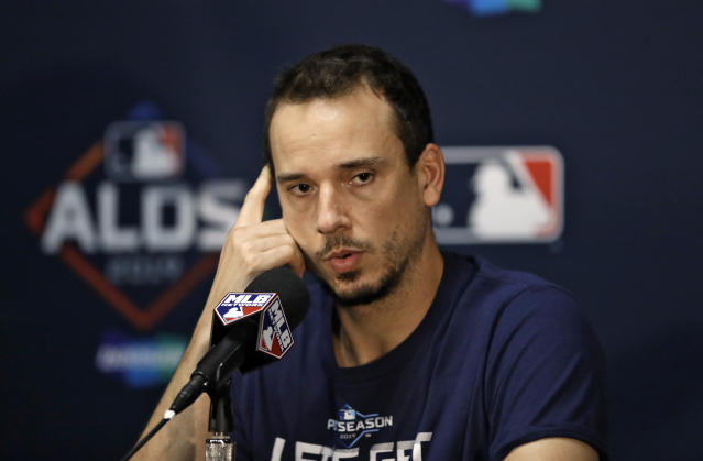 Tampa Bay Rays starting pitcher Charlie Morton answers a question during a news conference Sunday, Oct. 6, 2019, in St. Petersburg, Fla. The Rays take on the Houston Astros in Game 3 of a baseball American League Division Series on Monday. (AP Photo/Chris O'Meara)