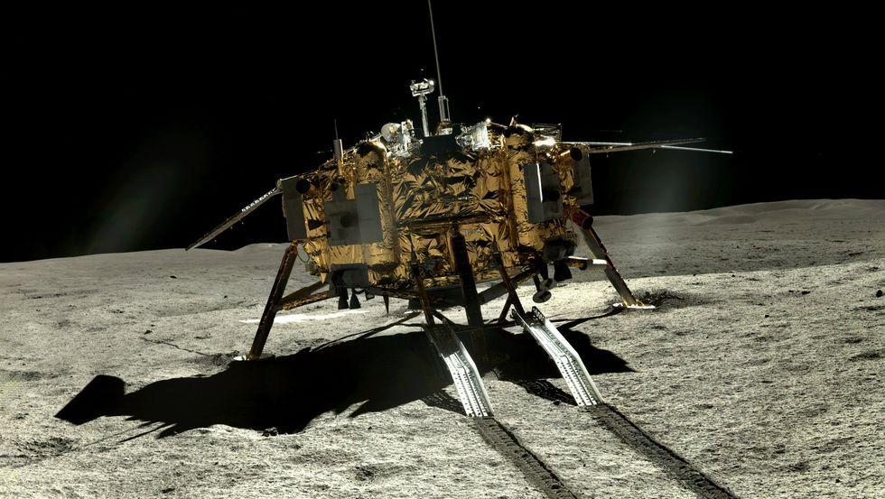 <p>The rover Yutu-2 looks back at the Chang'e 4 lander as it embarks on its journey across the lunar surface. </p>