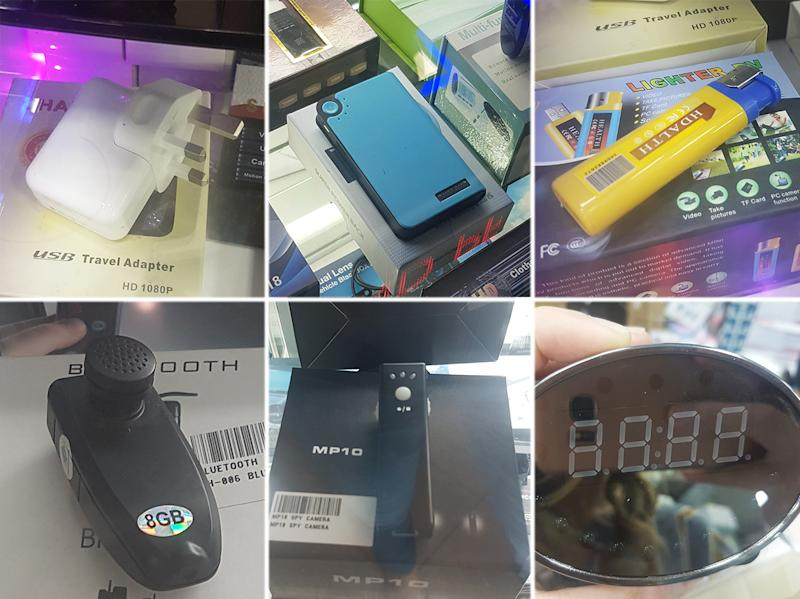 Spy cameras embedded in commonplace items such as a power bank, a lighter and a clock are sold in several malls in Singapore. PHOTO: Koh Wan Ting/Yahoo News Singapore