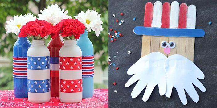 """<p>There's no better way to celebrate America's independence than with a <a href=""""https://www.womansday.com/food-recipes/g1180/4th-of-july-party-ideas/"""" rel=""""nofollow noopener"""" target=""""_blank"""" data-ylk=""""slk:4th of July party"""" class=""""link rapid-noclick-resp"""">4th of July party</a>. Having a big celebration may not have been feasible in 2021, but thanks to increasing vaccine availability and declining COVID-19 cases, it seems like small outdoor gatherings may be possible this summer. In other words, it's time to start planning. After you've figured out your <a href=""""https://www.womansday.com/food-recipes/food-drinks/g2440/4th-of-july-recipes/"""" rel=""""nofollow noopener"""" target=""""_blank"""" data-ylk=""""slk:4th of July recipes"""" class=""""link rapid-noclick-resp"""">4th of July recipes</a>, your <a href=""""https://www.womansday.com/food-recipes/food-drinks/g1594/4th-of-july-desserts/"""" rel=""""nofollow noopener"""" target=""""_blank"""" data-ylk=""""slk:4th of July desserts"""" class=""""link rapid-noclick-resp"""">4th of July desserts</a>, and your <a href=""""https://www.womansday.com/life/g3009/4th-of-july-activities/"""" rel=""""nofollow noopener"""" target=""""_blank"""" data-ylk=""""slk:4th of July activities"""" class=""""link rapid-noclick-resp"""">4th of July activities</a>, you also have to think about the party decor. Rather than stringing up store-bought decorations, these 4th of July crafts and DIYs will add more character to your party than anything purchased from a store (and they're often cheaper to make yourself). The best part? Most of these Independence Day DIYs are perfect for crafters of all ages. </p><p>Putting together these 4th of July craft decorations won't take up too much of your time, so you'll still be able to pull off prep for your patriotic party. Maybe you'll even have enough time to whip up a <a href=""""https://www.womansday.com/food-recipes/food-drinks/g2447/4th-of-july-cake-and-cupcakes/"""" rel=""""nofollow noopener"""" target=""""_blank"""" data-ylk=""""slk:4th of July-themed cake"""" class=""""link rapid-noclick-resp"""">4th of July"""