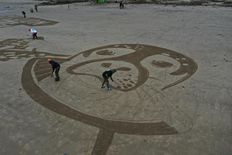 Members of the team creating the sand drawing work on the seal's face