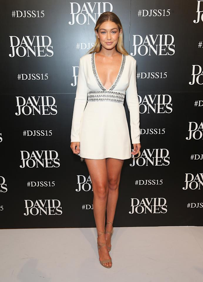 <p>The supermodel and one of fashion IT girls showed the right amount of skin when she arrived to the David Jones Spring 2015 fashion launch in Sydney, Australia.<br /><br /></p>