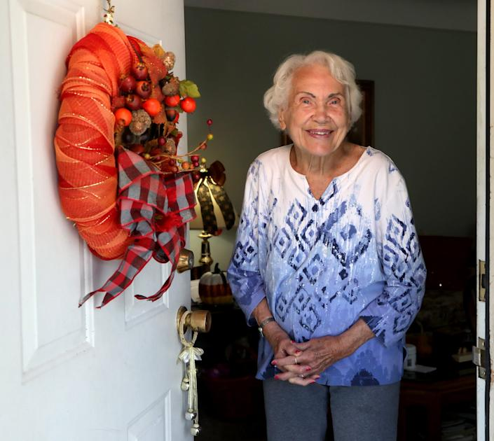 Alice Lawson, 97, in her Lincoln Park, Michigan home on Oct. 13, 2020. Lawson, originally from Belgium, met her husband John E. Lawson during World War II in Belgium where both were in the medical field. During the war, Lawson and her family helped hide Jewish people from the Nazi's saving dozens from going to concentration camps. She married her husband a few days after VE Day in May of 1945.