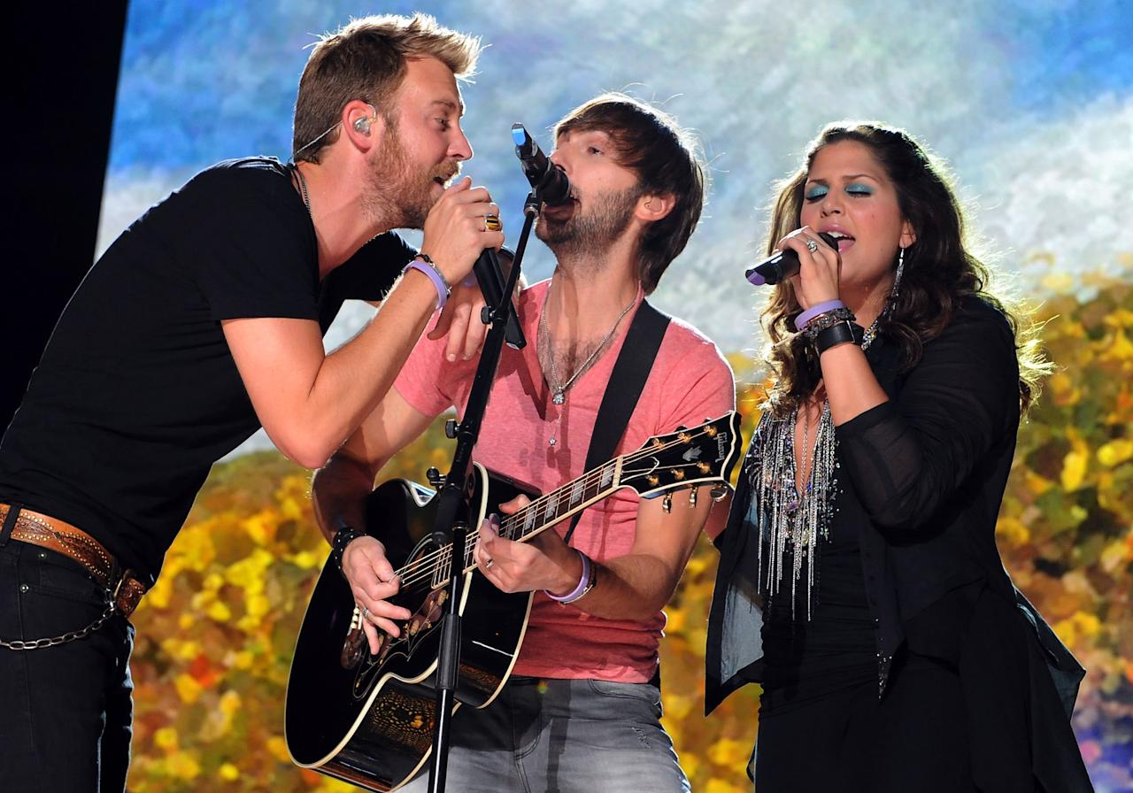 NASHVILLE, TN - JUNE 07:  Hilary Scott, Charles Kelley and Dave Haywood of Lady Antebellum perform during the 2012 CMA Music Festival - Day 1 at LP Field on June 7, 2012 in Nashville, Tennessee.  (Photo by Rick Diamond/Getty Images)