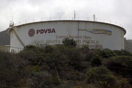 The PDVSA logo is seen on a tank at its refinery El Palito in Puerto Cabello