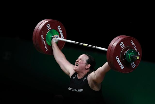 New Zealand's Laurel Hubbard competes in the women's +90kg weightlifting final at the 2018 Commonwealth Games in Australia (AFP Photo/ADRIAN DENNIS)