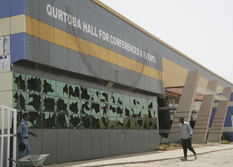 The damaged Qurtoba conference hall is seen after demonstrations by Sudanese university students and citizens yesterday in the capital Khartoum, Sudan, Sunday, June 24, 2012. Protests were set off by economic austerity measures but marchers are also demanding the ouster of longtime Sudanese President Omar al-Bashir. Sudanese opposition figures say protests have entered their eighth day, as the government vowed to crack down on demonstrators. (AP Photo/Abd Raouf)