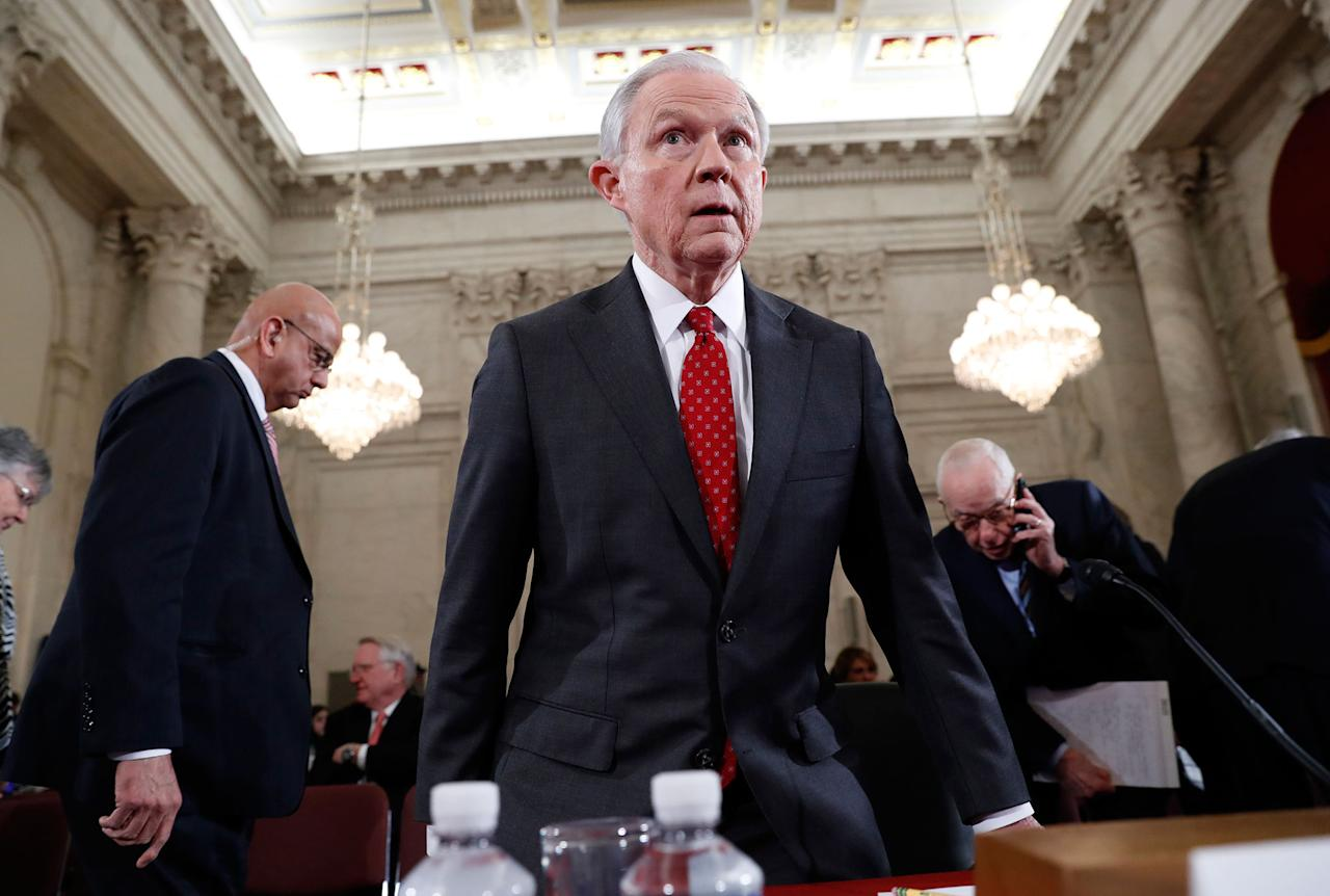 <p>Attorney General-designate, Sen. Jeff Sessions, R-Ala., takes his seat on Capitol Hill in Washington, Tuesday, Jan. 10, 2017, after a break in his confirmation hearing before the Senate Judiciary Committee. (AP Photo/Alex Brandon) </p>