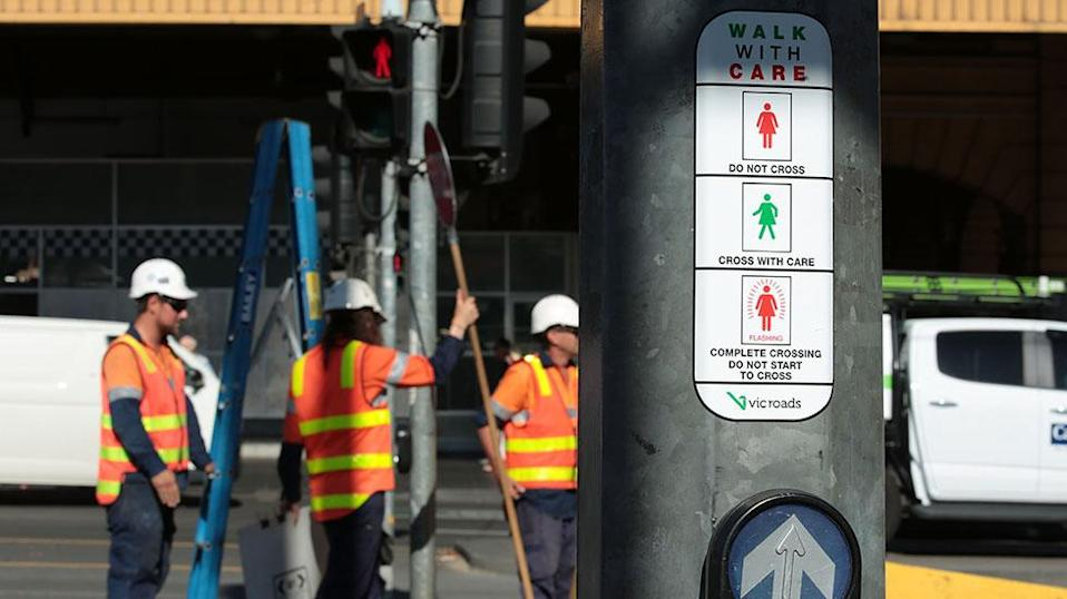 Female traffic light signals are installed at the intersection of Swanston and Flinders streets on March 7, 2017 in Melbourne. Source: Getty