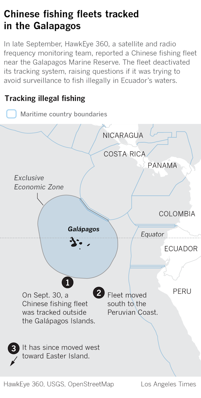 Map of Galapagos Islands shows where Chinese fishing fleet was tracked near waters off limits to fishing