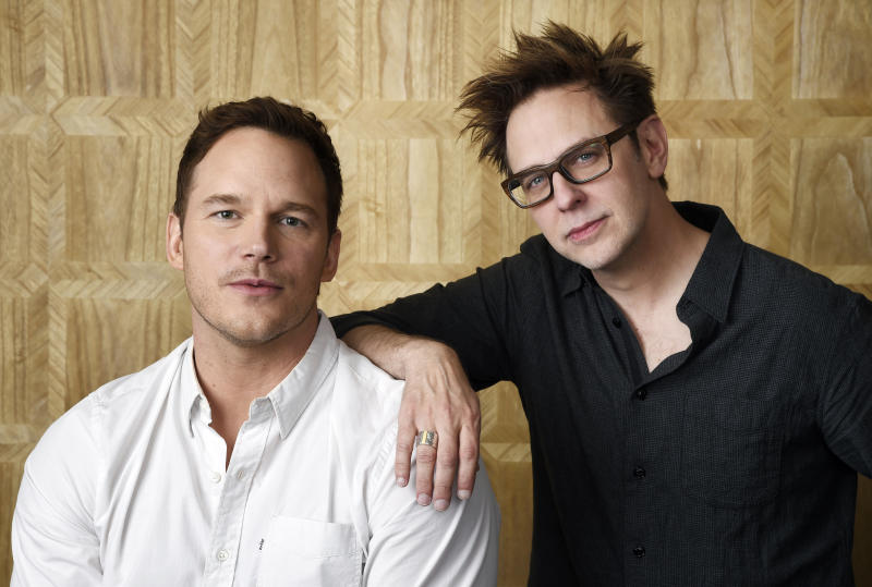 """In this April 20, 2017 photo, Chris Pratt, left, a cast member in """"Guardians of the Galaxy Vol. 2,"""" and the film's writer/director James Gunn pose together at the London West Hollywood Hotel in West Hollywood, Calif. The film opens May 5. (Photo by Chris Pizzello/Invision/AP)"""