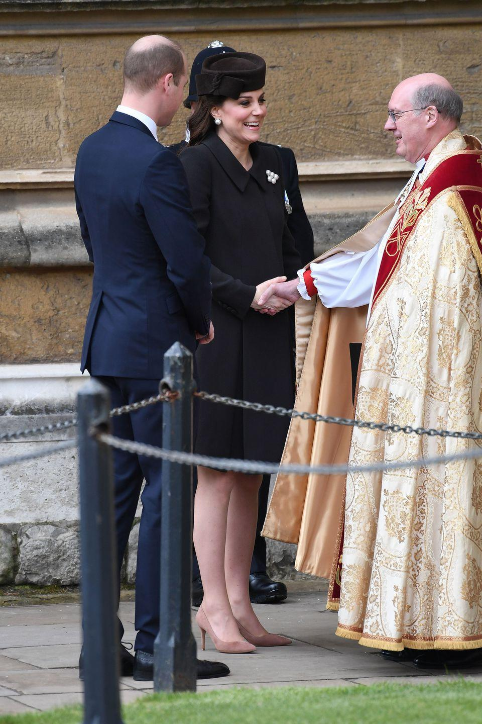 <p>They committed a faux pas and arrived after the Queen to church due to traffic.</p>