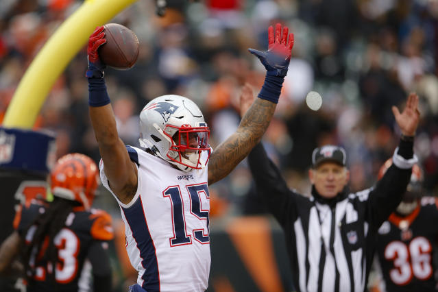 New England Patriots wide receiver N'Keal Harry (15) celebrates his touchdown in the second half of an NFL football game against the Cincinnati Bengals, Sunday, Dec. 15, 2019, in Cincinnati. (AP Photo/Gary Landers)