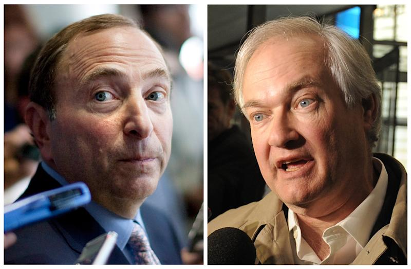 This photo combo shows NHL Commissioner Gary Bettman, left, talking to the media in Toronto, on Thursday, Aug. 23, 2012, and at right is Donald Fehr, executive director of the NHL Players' Association, speaking to the media, Friday, Nov. 9, 2012, in New York. The NHL and the players' association said they reached a tentative agreement early Sunday, Jan. 6, 2013, in New York, to end a nearly four-month-old lockout that threatened to wipe out the season. (AP Photo)