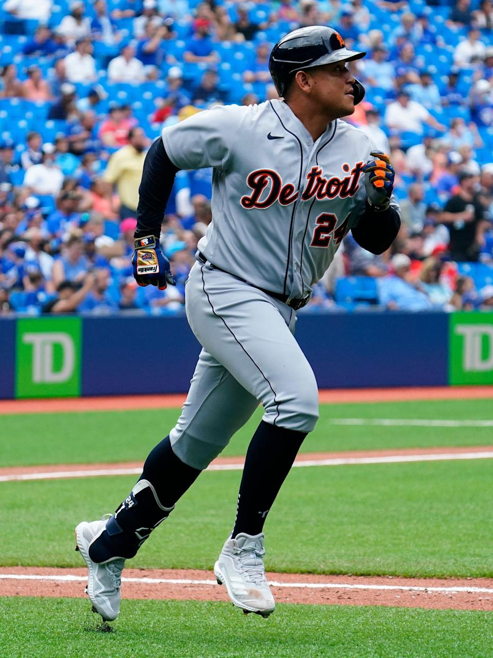 Detroit Tigers designated hitter Miguel Cabrera hits a solo home run, the 500th of his career, against the Toronto Blue Jays in the sixth inning at Rogers Centre, Sunday, Aug. 22, 2021.