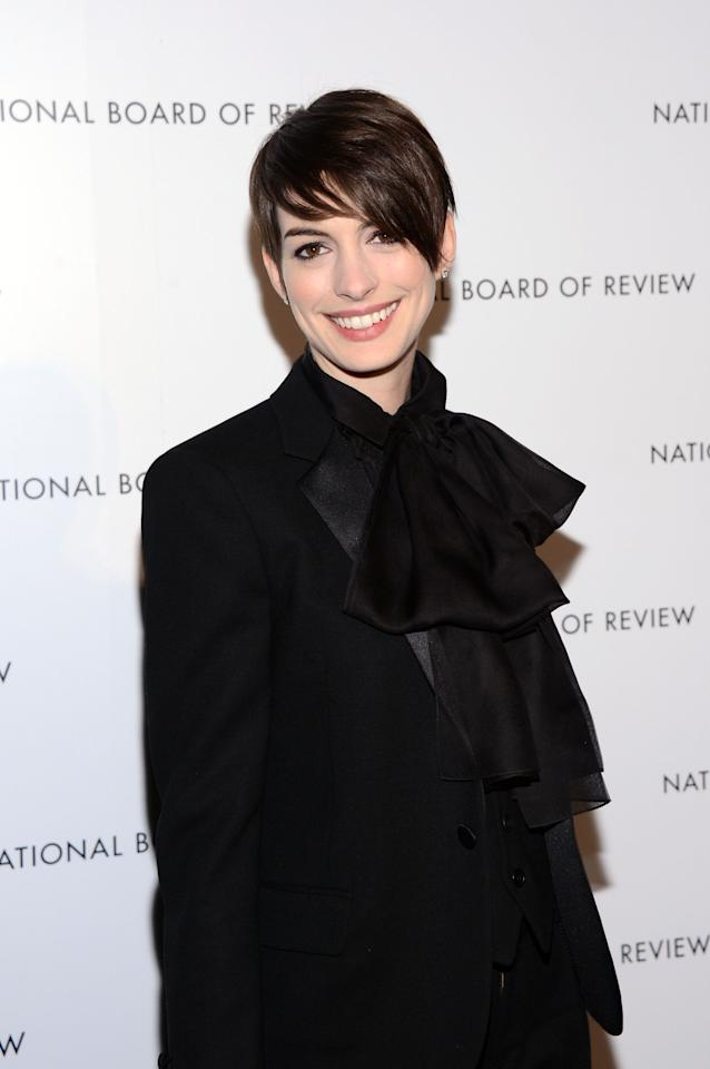 NEW YORK, NY - JANUARY 08:  Actress Anne Hathaway attends the 2013 National Board Of Review Awards at Cipriani 42nd Street on January 8, 2013 in New York City.  (Photo by Stephen Lovekin/Getty Images)