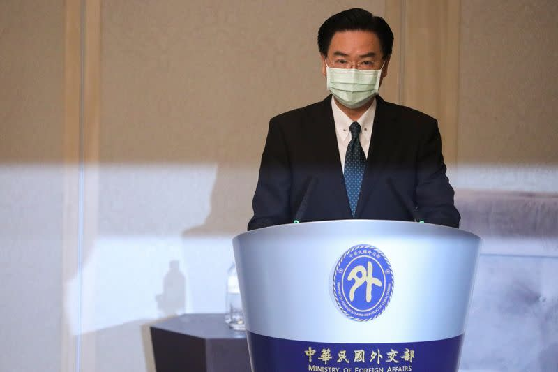 Taiwan's Foreign Minister Joseph Wu speaks during a news conference in Taipei