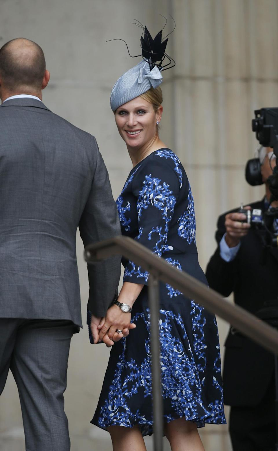 <p>Phillips stuck to the summery theme in a blue floral dress. <i>(Photo: PA Images)</i><br></p>
