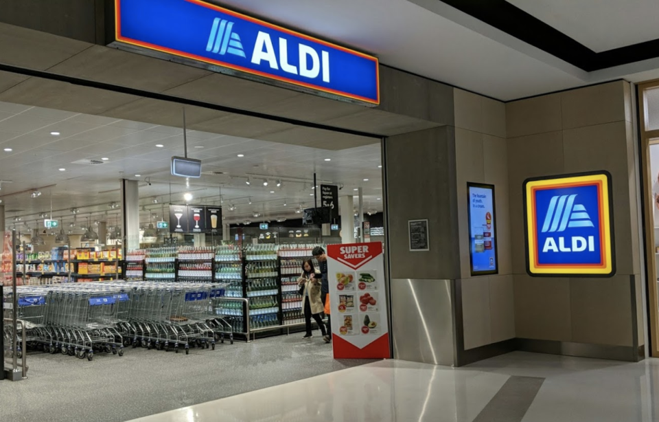 Aldi trolleys at the Rhodes Waterside location are coin operated. Source: Google Maps