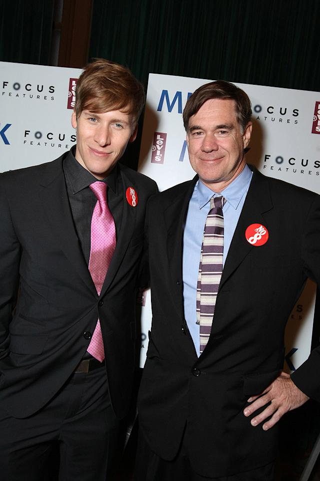 "Screenwriter <a href=""http://movies.yahoo.com/movie/contributor/1809095884"">Dustin Lance Black</a> and director <a href=""http://movies.yahoo.com/movie/contributor/1800024107"">Gus Van Sant</a> at the San Francisco premiere of <a href=""http://movies.yahoo.com/movie/1810041985/info"">Milk</a> - 10/28/2008"