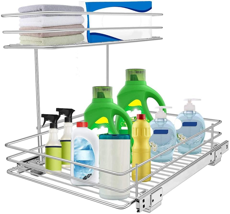 <p>This two-tier <span>Tksrn 2 Tier Slide Wire Shelf Basket</span> ($44) is so easy to use. You can even pull it out for easy access.</p>
