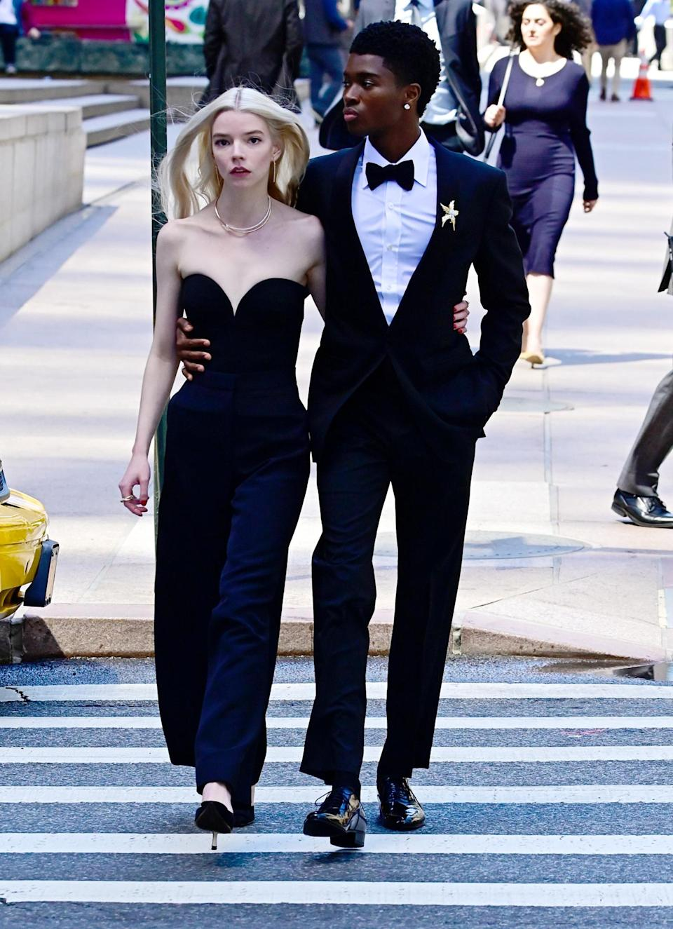 <p>Anya Taylor-Joy shoots a Tiffany & Co. ad alongside a model on Tuesday in N.Y.C.</p>