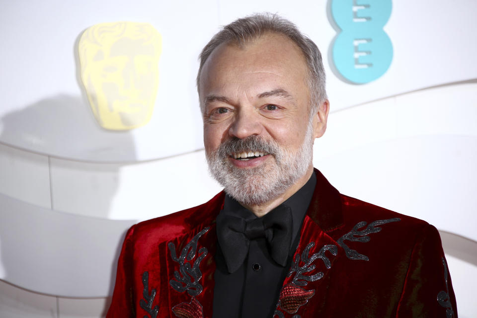 Host Graham Norton poses for photographers upon arrival at the Bafta Film Awards, in central London, Sunday, Feb. 2 2020. (Photo by Joel C Ryan/Invision/AP)